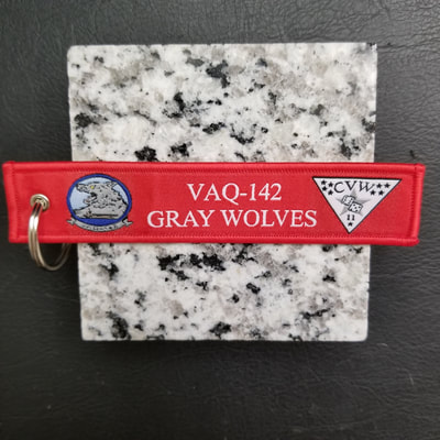 Custom VAQ-142 Gray Wolves Remove Before Flight Keychain, Tag, or Streamer