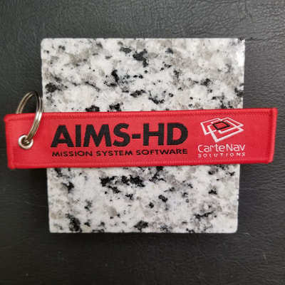 Custom AIMS-HD Mission System Software Cartenav Solutions Remove Before Flight Keychain, Tag, or Streamer