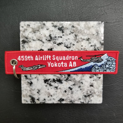 Custom 459th Airlift Squadron Yokota AB Remove Before Flight Keychain, Tag, or Streamer