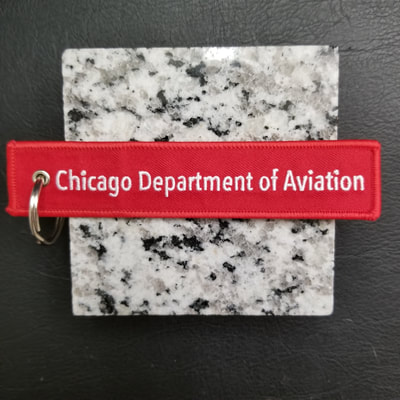 Custom Chicago Department of Aviation Remove Before Flight Keychain, Tag, or Streamer